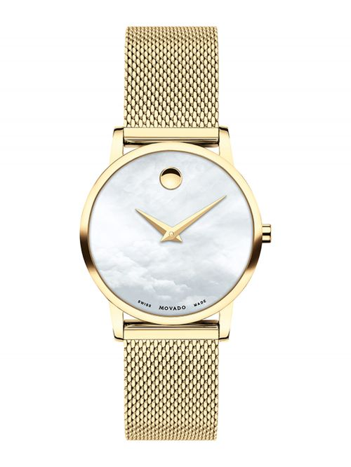Movado Lady Watch 28mm Museum Classic MOP Dial Gold Plated Mesh Brac