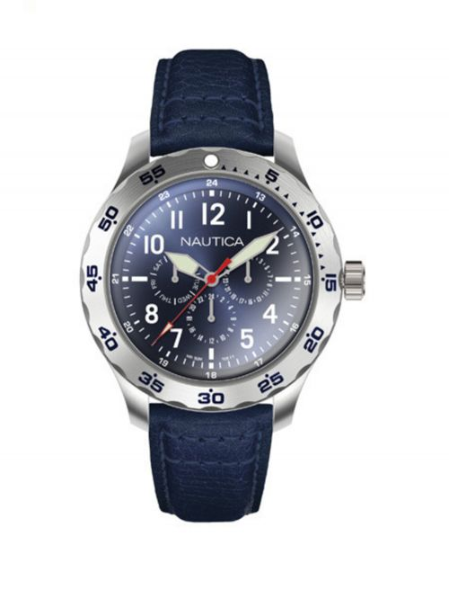 SS  CASE  SILVER DIAL NAVY LEATHER STRAP 47MM CASE
